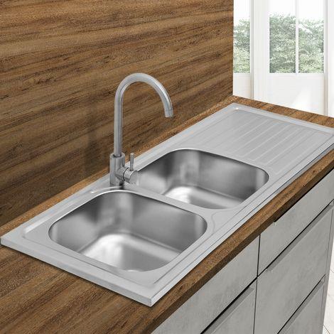 Fregadero de cocina acero inox 2 cuencas izquierda lavabo integrado 120x50cm
