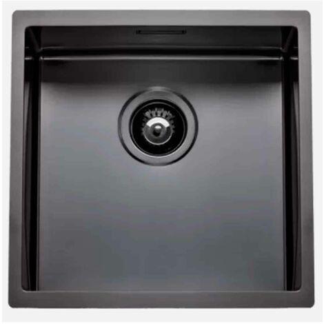 Fregadero de cocina Box Lux 40 de rodi con sifón y válvula de cesta 44x44CM Gris grafito