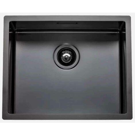 Fregadero de cocina Box Lux 50 de rodi con sifón y válvula de cesta 54x44CM Gris grafito