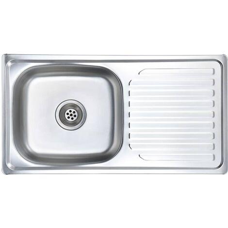 vidaXL Fregadero de cocina con colador y sifón de acero inoxidable - Argento