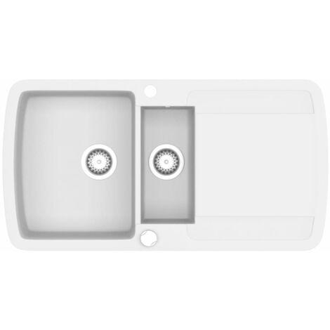 Fregadero de cocina con dos senos de granito blanco - Blanco