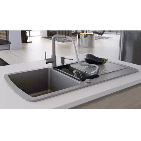 Fregadero de cocina con dos senos de granito gris