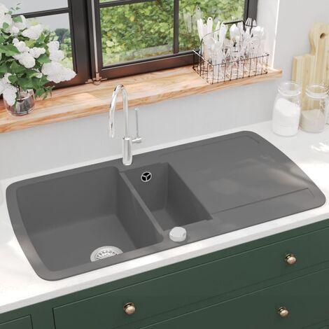 Fregadero de cocina con dos senos de granito gris - Gris