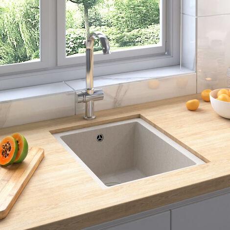 Fregadero de cocina con rebosadero granito beige