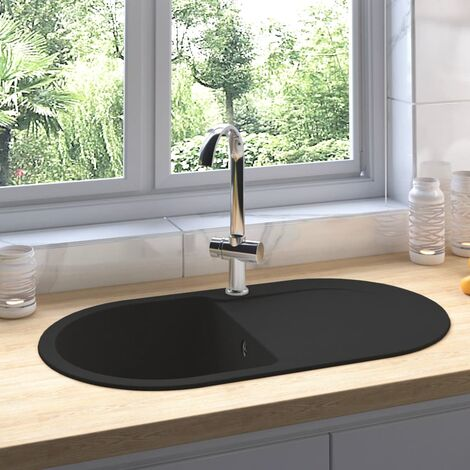 Fregadero de cocina con rebosadero ovalado granito negro