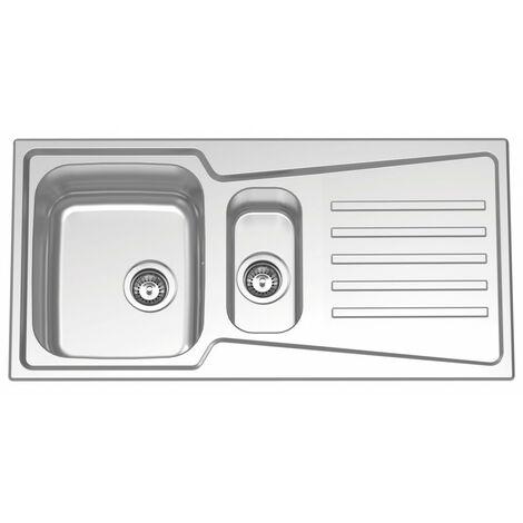 Fregadero de cocina con seno grande y seno pequeño con escurridor modelo Evolution 100B 1/2B flat de Rodi 99X49CM