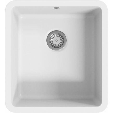 Fregadero de cocina con un seno granito blanco