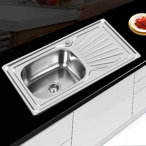 Fregadero de cocina Cuadrado De Un Seno inoxidable Practic 90x50x15cm