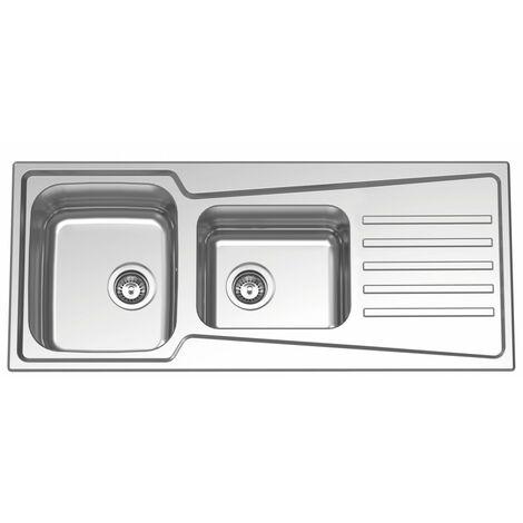 Fregadero de cocina de 1,5 Senos (un seno y medio) con escurridor modelo Evolution 116 Flat de Rodi 115X49CM