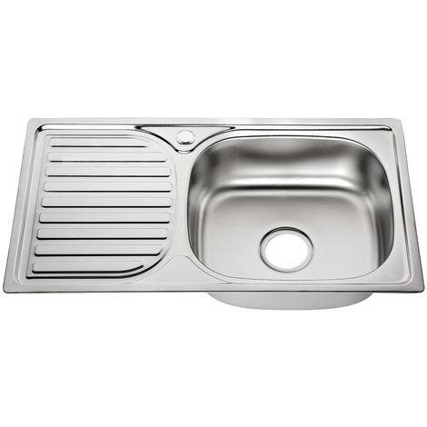Fregadero de cocina de Acero inoxidable plano encastrado con un seno Lavamanos empotrado Accesorios para fregadero