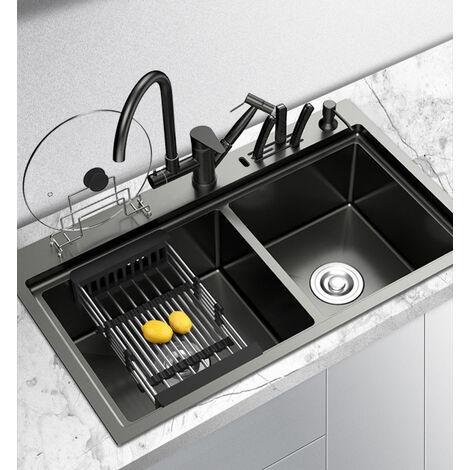 Fregadero de cocina de dos senos de acero inoxidable negro