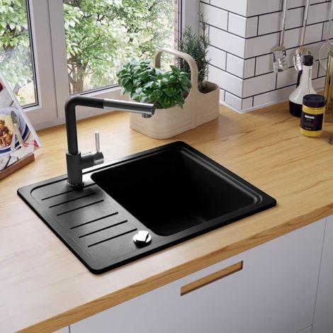 VidaXL Fregadero de cocina de granito con un seno negro