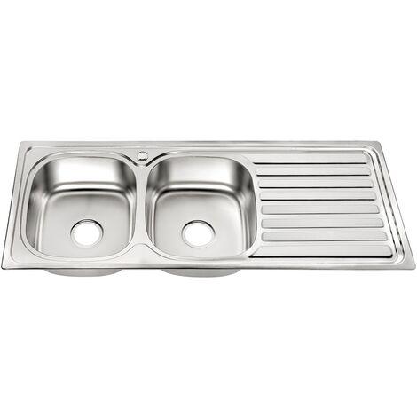 Fregadero de cocina doble encastrado Acero inoxidable 120CM con 2 senos Lavamanos empotrado 2 fregaderos