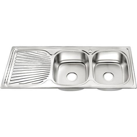 Fregadero de cocina doble encastrado Acero inoxidable 120CM con bandeja con 2 senos Lavamanos empotrado 2 fregaderos