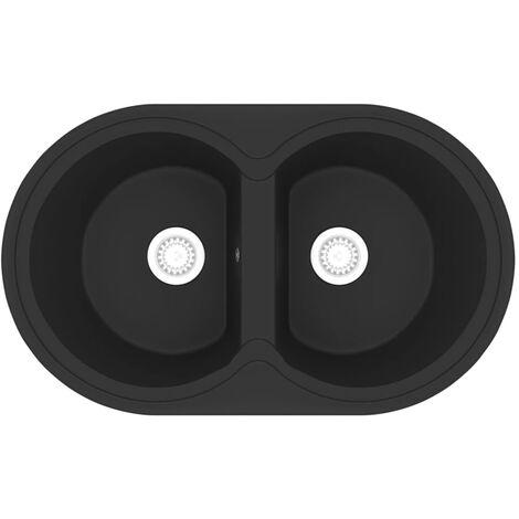 Fregadero de cocina doble ovalado granito negro