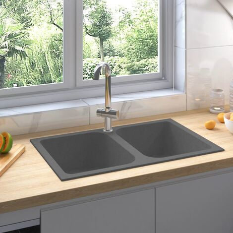 Fregadero de cocina doble seno con rebosadero granito gris