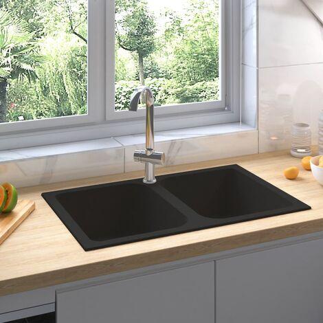 Fregadero de cocina doble seno con rebosadero granito negro