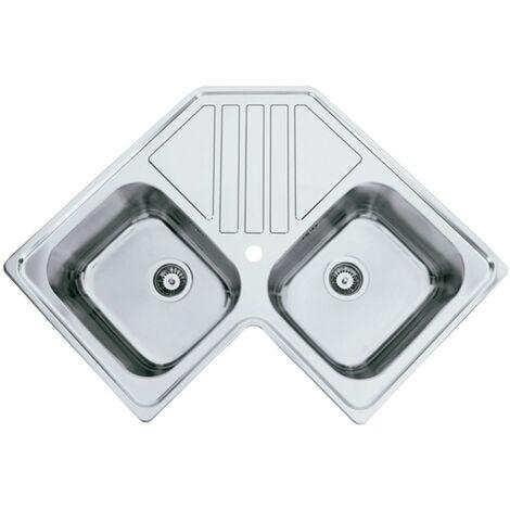 Fregadero de cocina para esquina de dos senos con escurridor modelo Kepler BB de Rodi 83X83CM