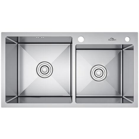 Fregadero de Dos Senos para Cocina (78 x 43 x 22 cm) Sobre Encimera con 1 Fregadero + 2 Hoyos + Desbordamiento y Sifón Fregadero de Cocina Acero Inoxidable