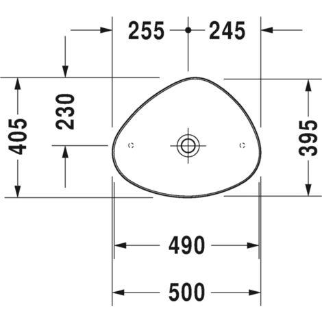 Fregadero Duravit Cape Cod 500 mm, sin agujero para grifo, sin rebosadero, color: Color interior blanco, color exterior blanco seda mate, con WonderGliss - 23395026001