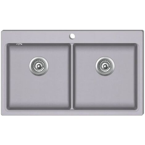Fregadero encastrable de granito gris de dos cubetas HAXD04098