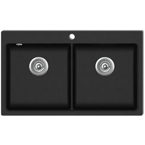 Fregadero encastrable de granito negro de dos cubetas HAXD04097