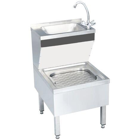 Fregadero lavamanos comercial de pie con grifo acero inoxidable