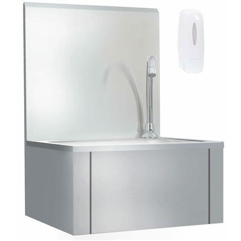 Fregadero lavamanos con grifo y dispensador de jabón acero inox