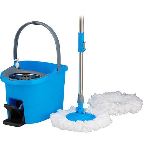 Fregona Giratoria PROFI, Cubo con Pedal, Palo Telescópico y Escurridor de Acero Inoxidable, Azul