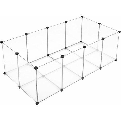 Freigehege mit Bodenplatten, Laufstall, Kunststoff-Stahlgitter für Kleintiere, Meerschweinchen, Hamster, Hasen, Transparente, LPC02W