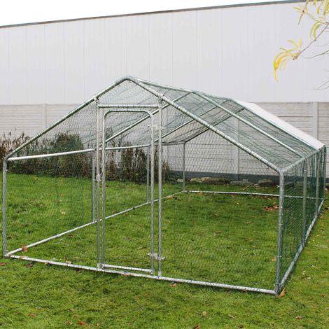 Freilaufgehege Außengehege Voliere Hühnerstall Hasenstall Kleintiergehege 4x3x2m Sonnendach