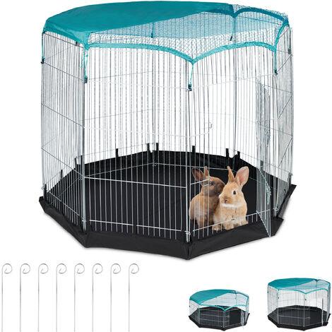 Freilaufgehege, Boden, Abdeckung, 8 Gitter, Kaninchen, Meerschweinchen, Gehege HBT 122,5x160x160 cm, silber