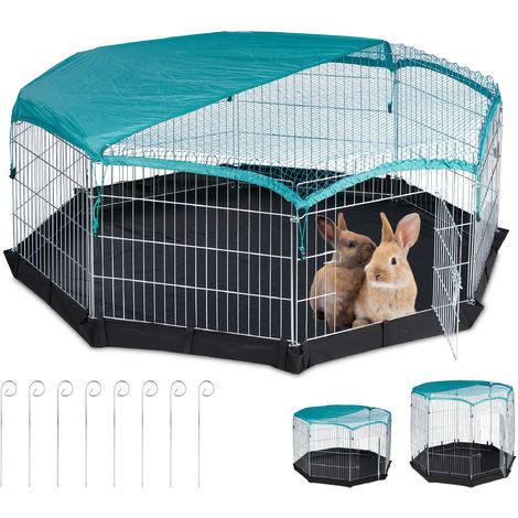 Freilaufgehege, Boden, Netzabdeckung, 8 Gitter, Kaninchen, Meerschweinchen, Gehege HBT 60,5x160x160 cm, silber