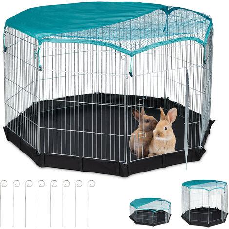Freilaufgehege, Boden, Netzabdeckung, 8 Gitter, Kaninchen, Meerschweinchen, Gehege HBT 92x160x160 cm, silber