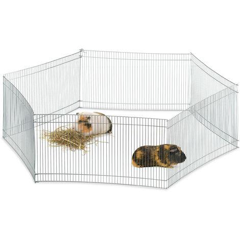 Freilaufgehege Kleintiere, 6 Elemente, engmaschig, Freilauf f. Meerschweinchen & Co., verzinkt, H 27cm, silber