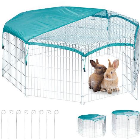 Freilaufgehege, Netzabdeckung, Kaninchen, Meerschweinchen, außen, Stahl, Freilauf, HBT 60,5x160x160 cm, silber