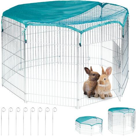 Freilaufgehege, Netzabdeckung, Kaninchen, Meerschweinchen, außen, Stahl, Freilauf, HBT 92x160x160 cm, silber