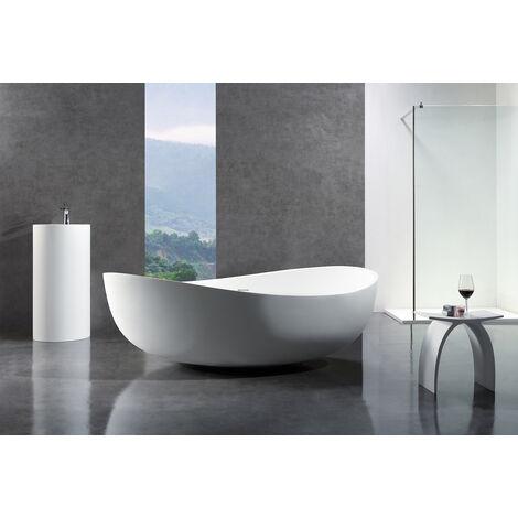 Freistehende Badewanne aus Mineralguss WAVE STONE weiß - 180 x 110 cm - Wählbar in Matt oder Hochglanz