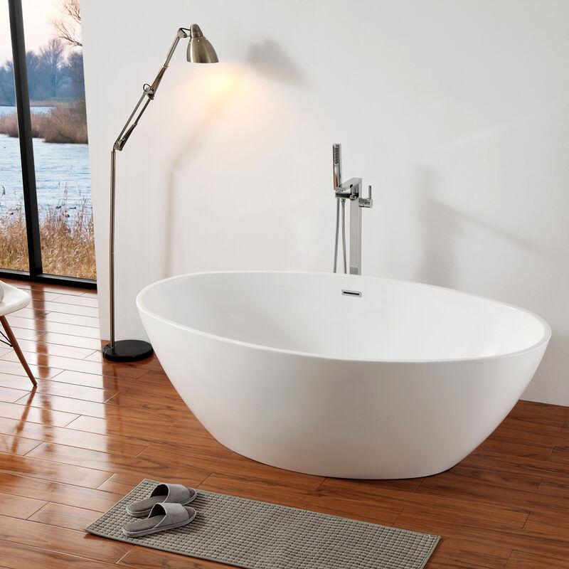 Freistehende Badewanne DESTINO Acryl weiß   175x100cm   Armatur optional Ohne Siphon, Inkl ...