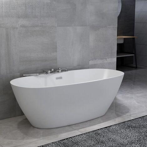 Freistehende Badewanne mit Wasserhahn Weiß Acryl 204 L