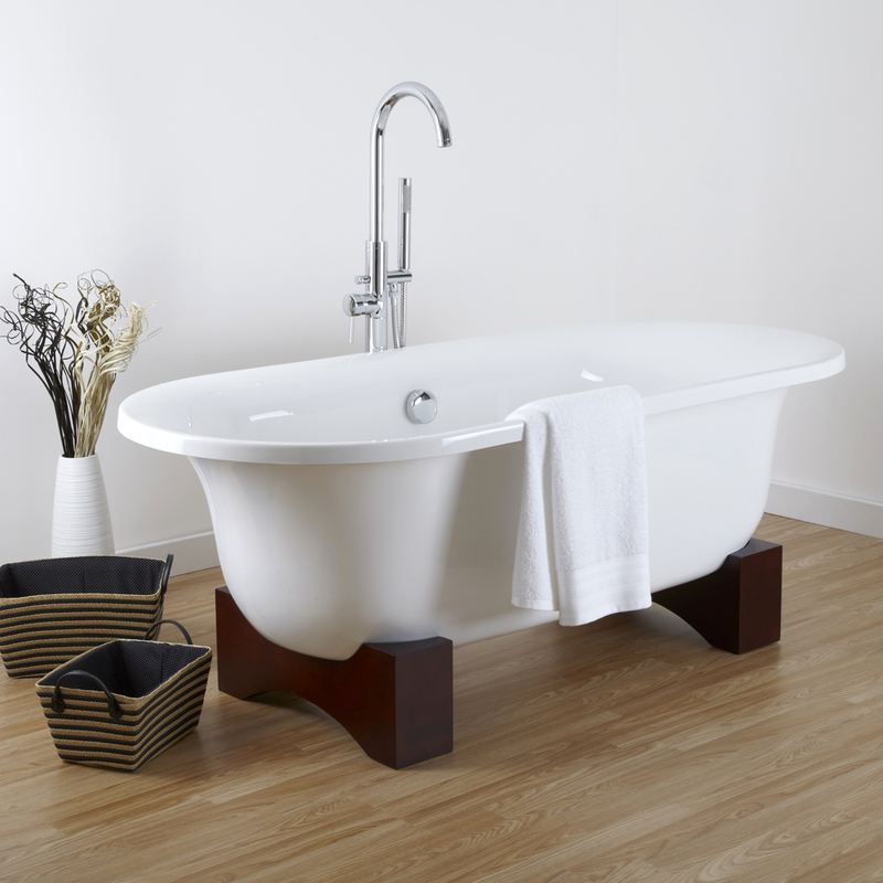 Freistehende Badewanne Oval mit Holzfüßen - Miami