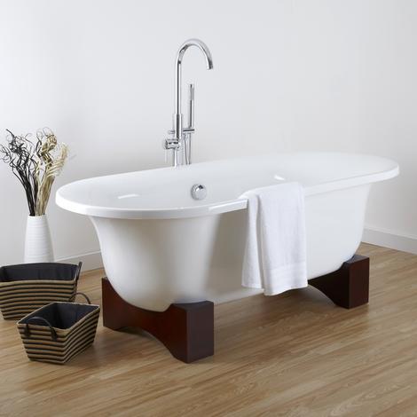 Freistehende Badewanne Oval Mit Holzfüßen Miami