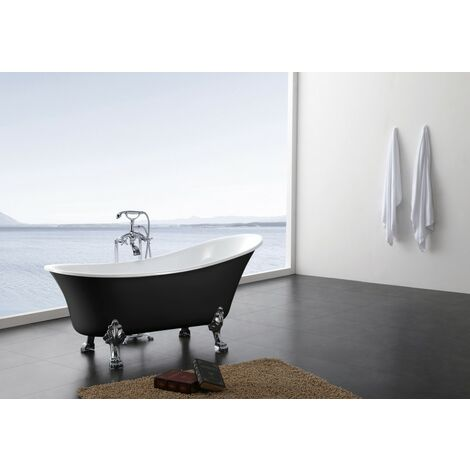 Freistehende Badewanne PARIS ACRYL BS-830 - Schwarz - 176x71cm - Inkl. Ab/ Überlauf