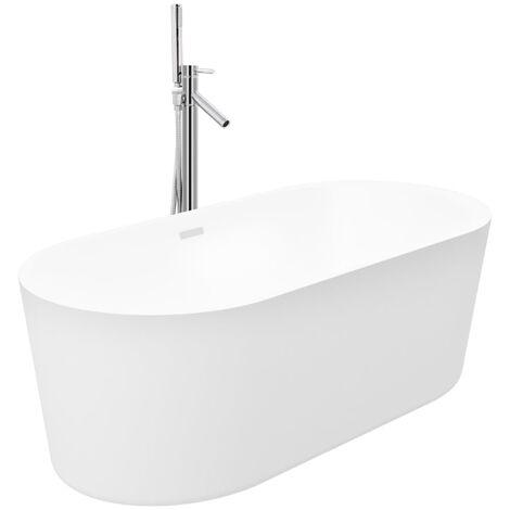 Freistehende Badewanne und Wasserhahn 204 L 110 cm Silbern