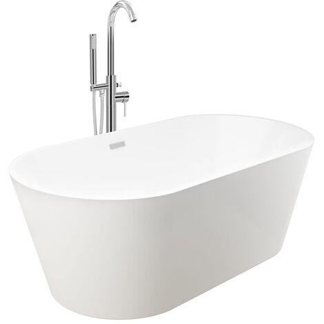Freistehende Badewanne und Wasserhahn 220 L 118,5 cm Silbern