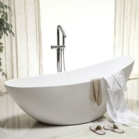 Freistehende Badewanne VICE aus Acryl in Weiß - 183,5 x 78,5 x 77 cm - Oberfläche & Standarmatur wählbar