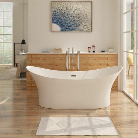 Freistehende Design Badewanne KALMAR - aus Acryl in Weiß 170 x 80 cm
