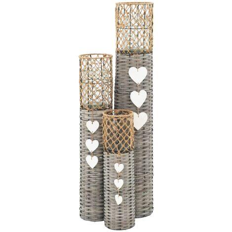 freistehende Kerzenhalter Laternen 3 Stk. Weide