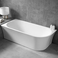Freistehende Raumsparbadewanne NOVA CORNER Acryl weiß - Einbau links - 170 x 78 cm - Standarmatur wählbar