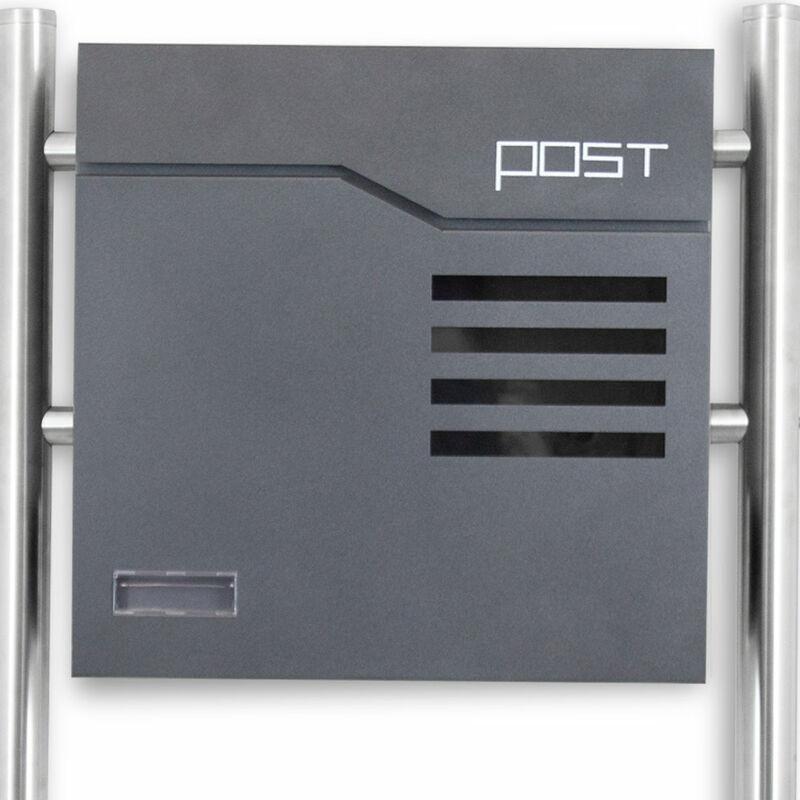 BITUXX/® Design Doppel Standbriefkasten 16784 Briefkasten Briefkastenanlage Freistehender Postkasten mit Zeitungsfach Anthrazit Graphit Edelstahl